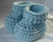 Crochet Booties for 3 to 6 month Baby in Light Blue