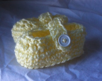 Crochet Loafer Slippers in Buttercup Yellow for Newborn Baby
