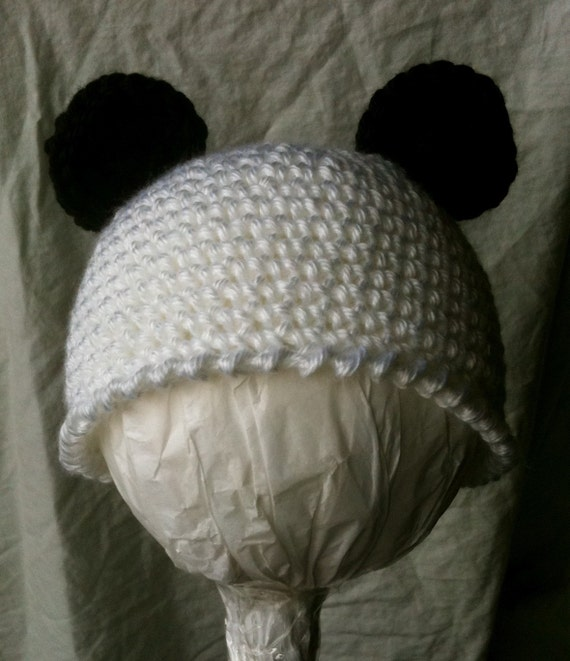 Crochet Panda Bear Hat for Baby Boy or Girl 3 to 6 months Black and White