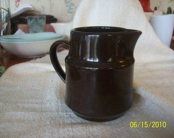 Vintage Style House Expresso Colored Stoneware Creamer