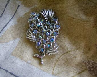 Vintage Blue AB Rhinestone Brooch/Pin