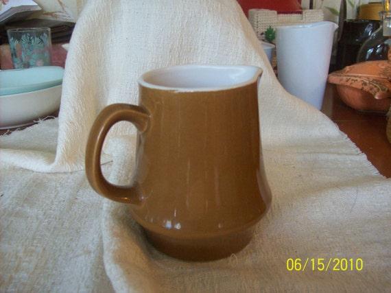 Vintage Umber Colored  Stoneware Creamer
