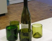 Stemless wine glasses made from recycled wine bottles with FIRE POLISHED RIMS