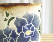 Blue Tumbler - Blue Cup - Blue Flower Cup - Handleless Mug - Pencil Cup - Small Vase - Iced Tea Cup - Blue Pottery