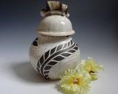 Carved Lidded Jar - White Jar - Carved White Jar - White Lidded Jar - Carved Jar - Flower Jar - Sugar Jar - Black and White Jar