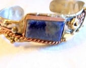 Brutalist Bracelet- Lapis - 60s-70s - Brutalist Movement - Handmade Abstract - Mid-Century Modern Silver With Copper Brass- Modernist