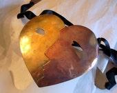 Vintage Brutalist Necklace Belt Abstract Face Signed - 1960s Mixed Metal Modernist Sculpture-Belt -Mask - Handmade Triba SALE