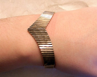 Vintage Taxco Modernist Silver Cuff Bracelet - SALE - Mid-Century - Solid Sterling Silver - Great Design -Medium To Large Wrist