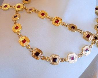 Vintage Red Enamel Necklace - Matching Bracelet - Heavy - Red Guilloche Enamel Set - Necklace and Matching Bracelet - Adjusts To Fit