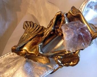 Brutalist Copa Collection - Silver Metallic Leather Belt With Amethyst Buckle- Carvalhu Rio Mid Century Modernist Sculpture - Handmade OOAK