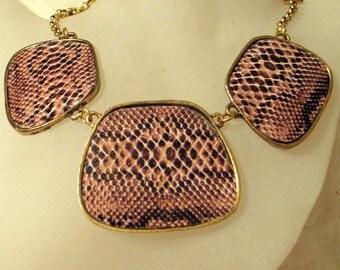 Vintage Big Python Snakeskin Necklace - SALE Choker Lizard Snake Modernist -Abstract - Animal Print Runway Bib Statement Necklace SALE