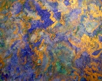 Ocean Watercolor Painting - Large Abstract Watercolor- 12x16 Metallic Watercolor - Cobalt Blue Green Turquoise Gold Metallic