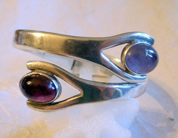 Vintage Taxco Clamper Bracelet - Sterling With Amethysts - Half Price Sale - Old Eagle 2 Mark - Fits All Sizes