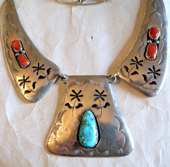 BIG Navajo Necklace Set With Turquoise And Coral - Vintage Native American Statement Necklace - Stamped And Incised - Signed - Sterling