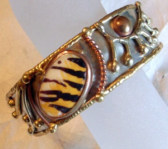 Brutalist Bracelet  Unusual-1960s-1970s Vintage Silver Mixed Metal Cuff Hand Painted Tiger Animal Print Brass Copper Silver-Modernist