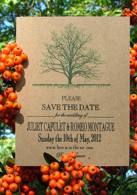 Printable Tree Roots Recycled Eco-Friendly Wedding Invitation Save the Date Card Set-