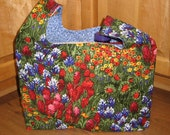 Reusable Fabric Market Bag - Texas Wildflowers print by Michael Miller