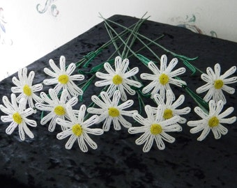 12 French beaded flowers white daisy bouquet 1 dozen daisies
