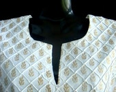 White with Gold n Silver block prints Tunic