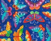RARE Laurel Burch Fabric Butterflies Dark Blue Flying Colors II 1/2 Yard 840-31