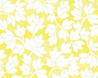 Happy White Leaves on Bright Yellow Fabric 1 Yard