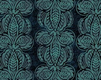 Floragraphix III Teal Fluer de lis Civil War Style Fabric 1 Yard