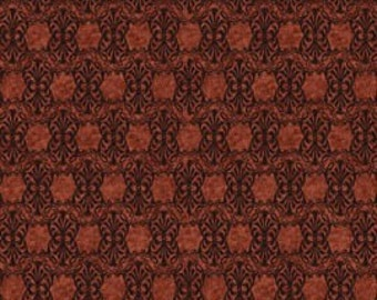 Autumn Glory Hexagonal Tonal Rust Fabric 1 Yard