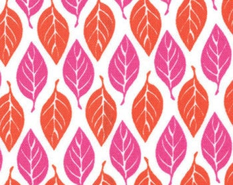 Terrain Orange Pink Leaves Fabric 1 Yard