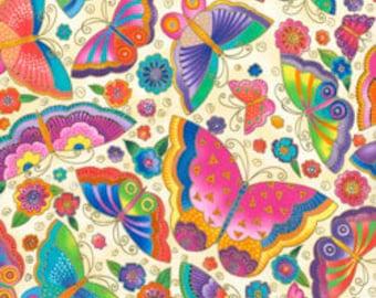 Laurel Burch Fabric Butterflies Cream Metallic Flying Colors II 1 Yard 836-2M
