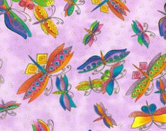 Laurel Burch Fabric Dragonflies Light Purple Metallic Flying Colors II 1/2 Yard 834-26M