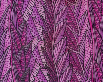 1 Yard Laurel Burch Secret Jungle Fabric Pink Leaves