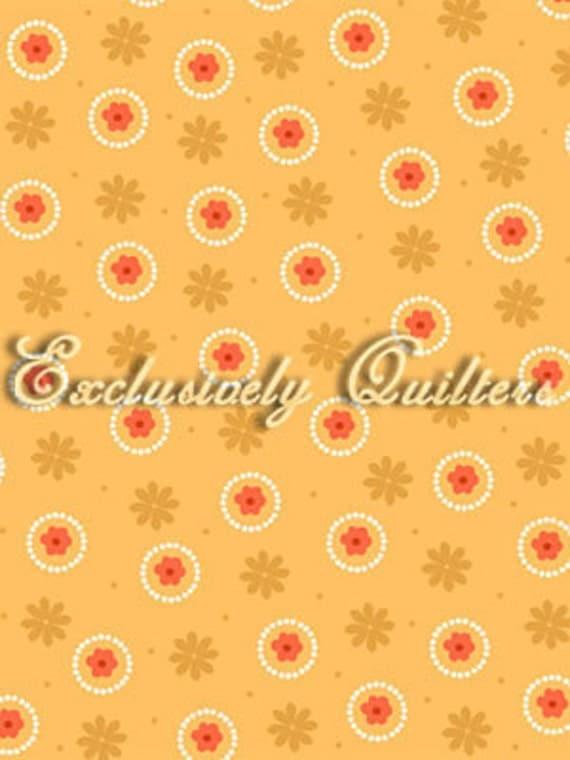 Sweet Flirtations Dots Flowers Peach Orange Fabric 1 Yard