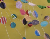 birthday party decoration. circle garland. fun multi color party decoration repurposed wool circle bunting.