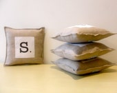 personalized pillow decoration. spell a word.  set of 4 letter pillows you spell any word. handmade by lisa of looploft.