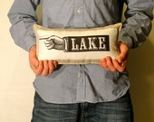 LAKE PILLOW. linen pillow with finger pointing to the lake. handmade by lisa of looploft.