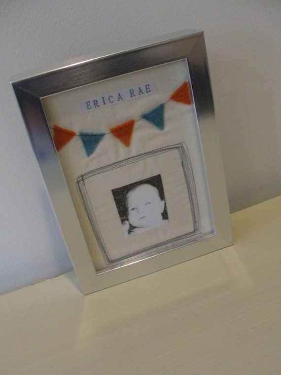 Christmas in July Sale...PENNANT FLAG design personalized custom fabric art for your photo in a 5x7 IKEA ribba frame