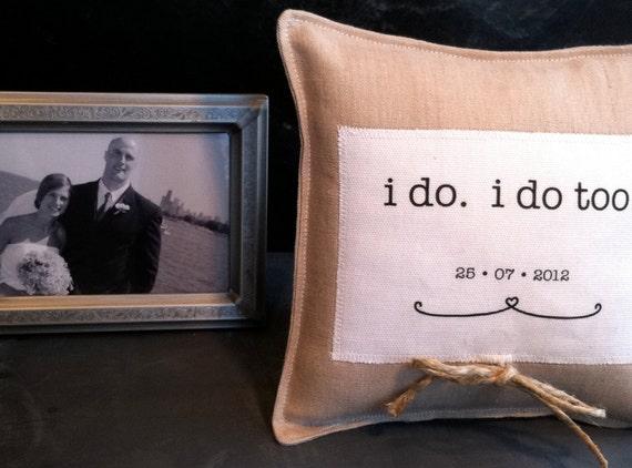 RING pillow. wedding or anniversary linen pillow decoration. handmade by lisa of looploft.