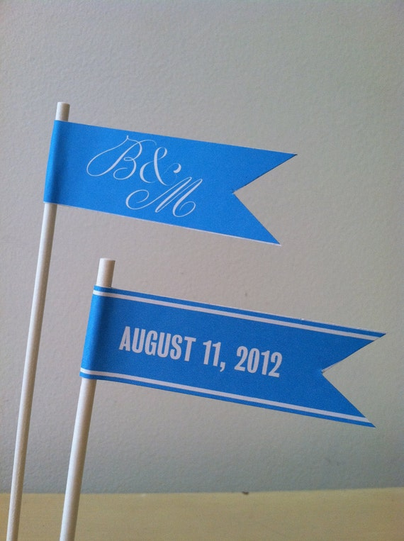 paper flags. bridal shower, party, reception, celebration, custom cupcake flags.