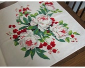 Two Vintage Christmas Rose Table Runners