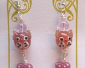 Pink Kitty Cats with Pink Hearts Earrings