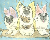Lucky Fairy Pugs in Flight with Lucky Kitten 5 x 7 Art Print with Matching Note Card