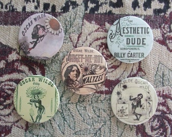 "Oscar Wilde 1882 Sheet Music 2.25"" Pinback Buttons - Set of 5"