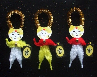 Maneki Neko 3 Lucky Calico Cats Chenille Ornaments