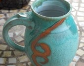 Monster Mug in Turquoise and Rust Waves