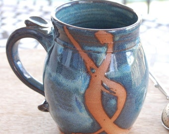 Slate Blue Mug with Rust Chain - Made to Order