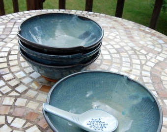 Set of Four Soup Bowls in Slate Blue - Made to Order