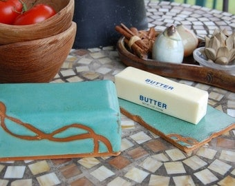 Covered Butter Dish in Turquoise and Rust- Made to Order