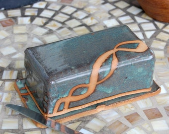 Covered Butter Dish in Slate Blue and Rust - Made to Order