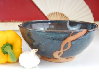 Serving Bowl in Slate Blue and Rust - Made to Order