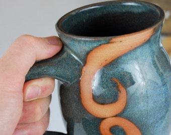 Slate Blue Mug with Rust Waves- Made to Order